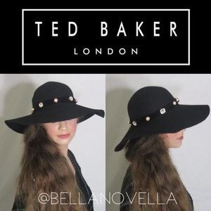 Ted Baker London Accessories - Crystal   Pearl Studded Black Wide Brim Hat 330c27ce04c6